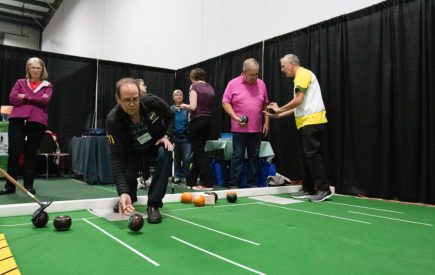 A Lifestyle show attendee enjoying the Lawn Bowling area.